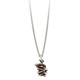 Ti2 Titanium Chaos Drop Pendant and Silver Necklace - Mulberry Brown
