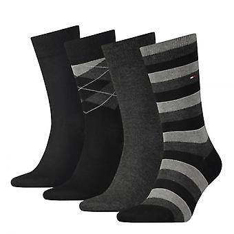 Tommy Hilfiger 4 Pack Tin Giftbox Cotton Logo Socks, Black, 43/46