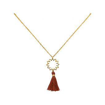 -Pendant - 925 Silver - gold plated - mandala - tassel ladies - necklace - Maroon - YOGA - 45 cm