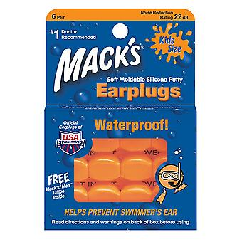 Mack's Kids Size Soft Moldable Silicone Ear Plugs, 6 Pairs