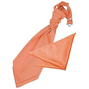 Coral Plain Satin Wedding Cravat & Pocket Square Set for Boys