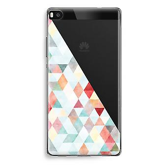 Huawei Ascend P8 Transparent Case (Soft) - Coloured triangles pastel