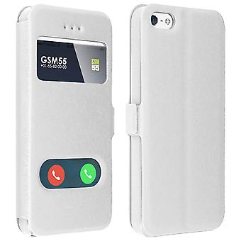 Double window flip standing case for Apple iPhone 5/5S/SE, TPU shell - White