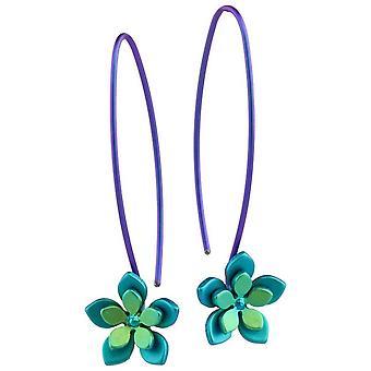 Ti2 Titanium dubbel vijf Petal bloem Drop Oorbellen - groen
