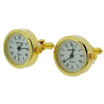 Gift Time Products Pair of Round Cufflink Clocks - Gold