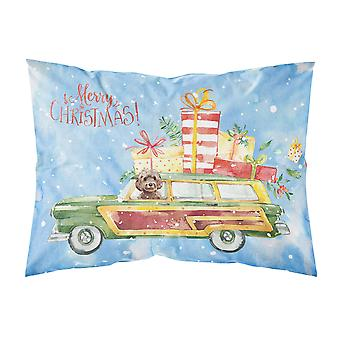 Merry Christmas Brown Cockapoo Fabric Standard Pillowcase