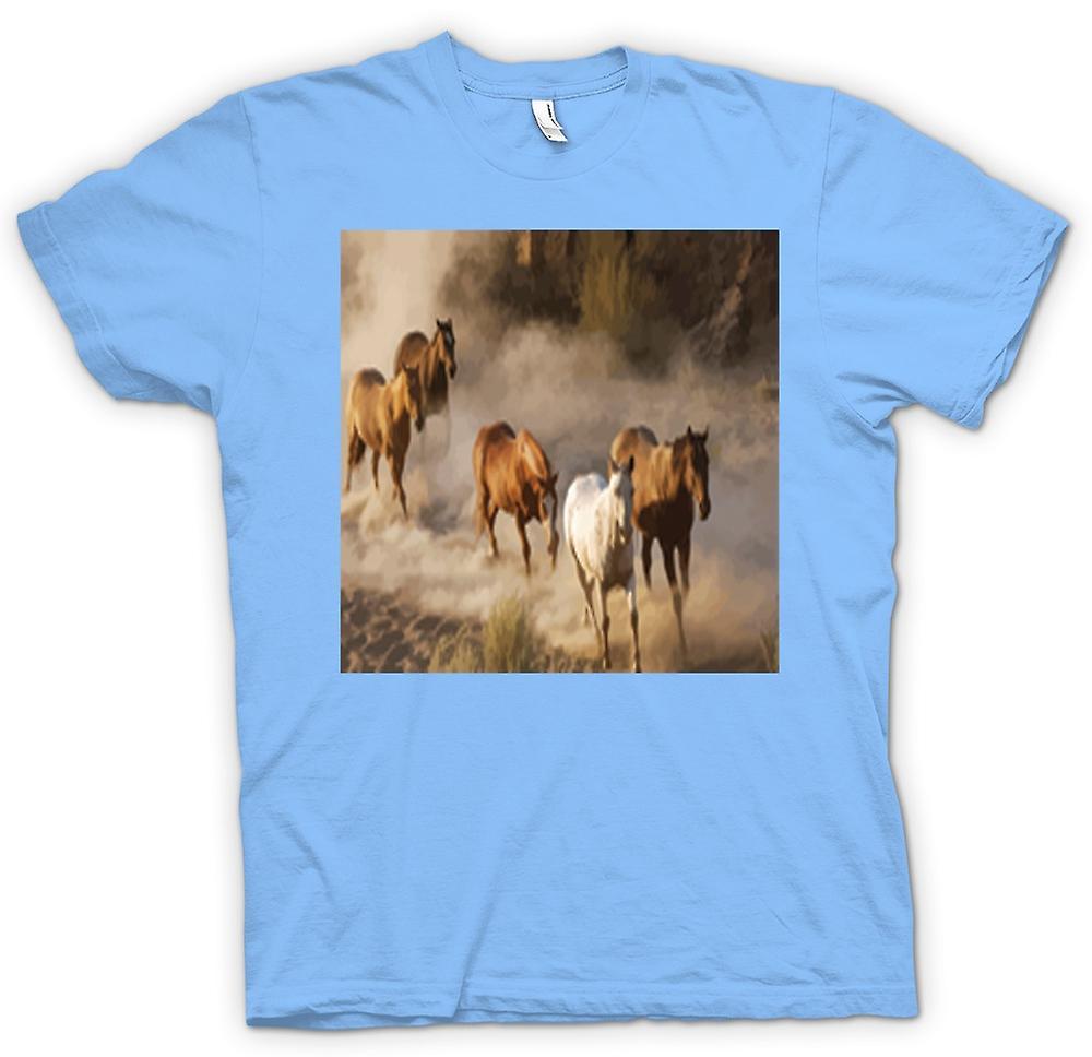 Hommes T-shirt - Ruée Chevaux Prairie Conception