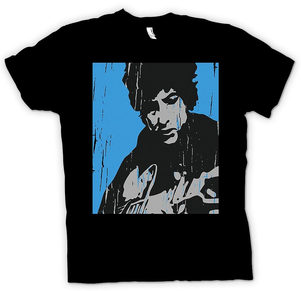 Womens T-shirt - Bob Dylan Playing Acoustic Guitar - Music Legend