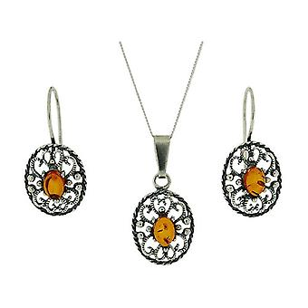Toc Sterling Silver Amber Pendant and Earrings Gift Set
