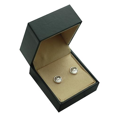 Silver 8mm round St Christopher Stud Earrings