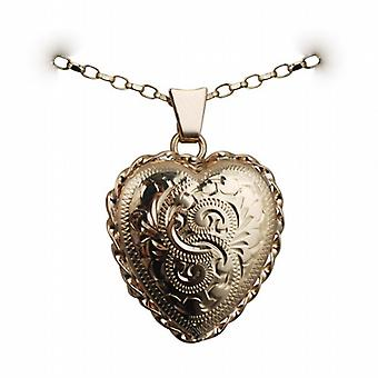 9ct Gold 23x21mm engraved twisted wire edge heart shaped Locket with a belcher Chain 24 inches