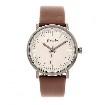 Simplify The 6200 Leather-Strap Watch - Grey/Brown