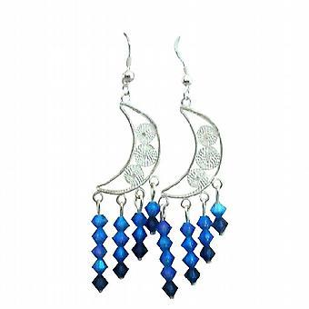 Half Moon Chandelier Earrings w/ Sapphire AB 2 X Beautiful Earrings