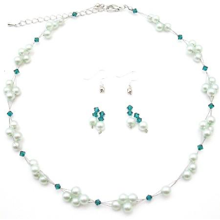 Mint Green Pearls Jewelry Swarovski Green Palace Crystals Necklace Set