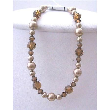 Bridemaides Bronze Pearls Brown Crystal Bracelet Swarovski Bronaze Pearls Smoked Topaz Crystals