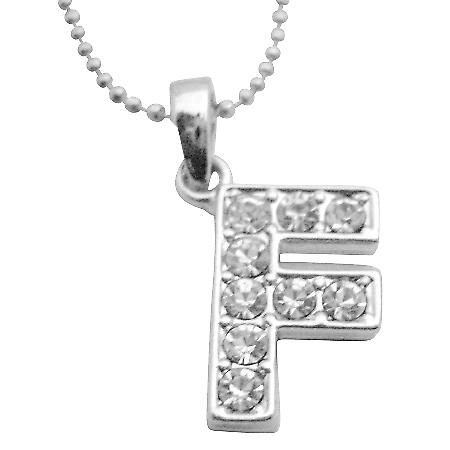 Have Your Name Pendant Alphabet F Diamante Fully Embedded Necklace