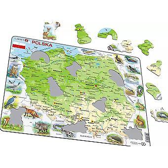 خريطة بولندا/بولندا مع الحيوانات-الإطار/المجلس بانوراما لغز 29 سم × 37 سم (LRS K98-PL)