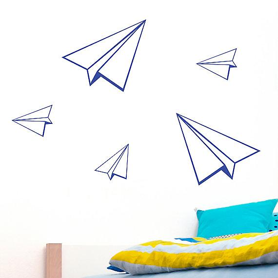 Set of 5 paper planes Wall Stickers