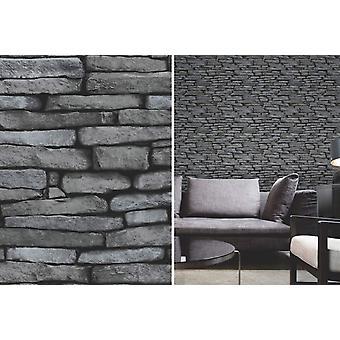 Fina decoración negro y plata pizarra piedra ladrillo pared papel pintado efecto