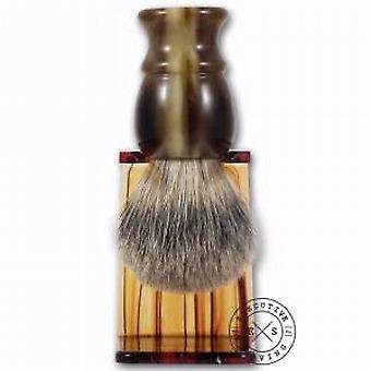 Executive Shaving Faux Horn Best Badger Hair Shaving Brush and Stand