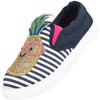 Girls blue and white denim pineapple skater shoes