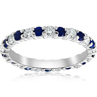 1 1/2ct Sapphire & Diamond Eternity Wedding Ring 14K White Gold