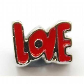 TOC BEADZ Red Enamel LOVE 9mm Slide-On & Slide-Off Bead