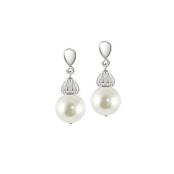 Eternal Collection Solitaire White Pearl Silver Tone Drop Clip On Earrings