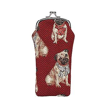 Pug glasses pouch by signare tapestry / gpch-pug