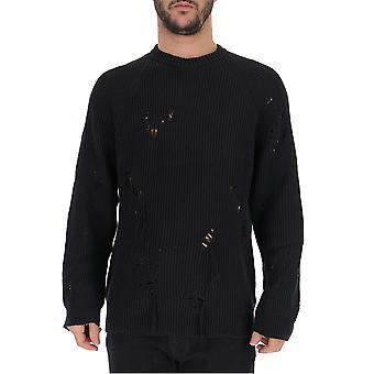 Laneus Black Cotton Sweater