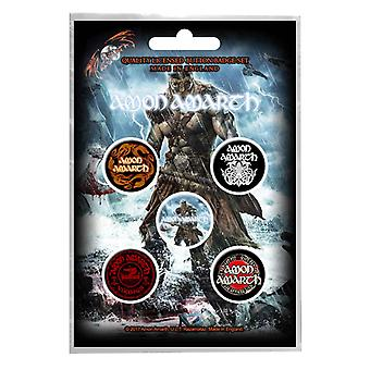 Amon Amarth badge pack viking band logo Death Metal new Official 5 x Pin Button