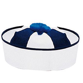 Azul de gorra de marinero blanco