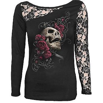 Spiraal-Rose Skull-Womens-kant één schouder top zwart