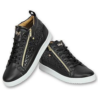 Men's Shoes-Mens Sneaker Croc Black Gold-CMS98-Black