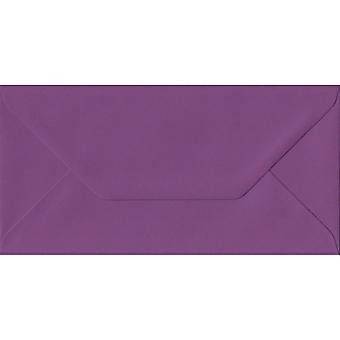 Purple gommé DL couleur mauves enveloppes. 100gsm FSC papier durable. 110 mm x 220 mm. banquier Style enveloppe.