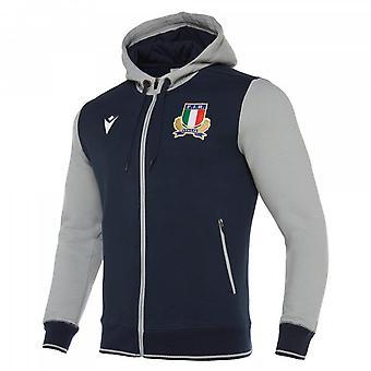 2019-2020 Italie Macron Rugby Voyage Sweatàcapté (Marine)