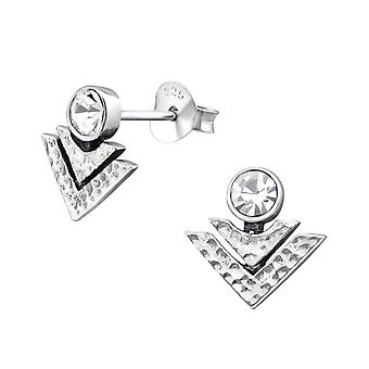 Geometrisk - 925 Sterling sølv Crystal øret knopper - W31166X