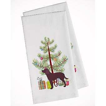 American Water Spaniel Merry Christmas Tree White Kitchen Towel Set of 2
