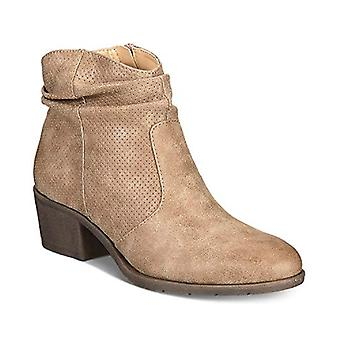 White Mountain. Uptown Block-Heel Slip-On Ankle Booties Natural Size 5.5