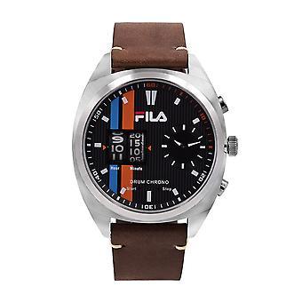 Fila Men's Watch Wristwatch DRUM ROLLER 38-844-001 Leather