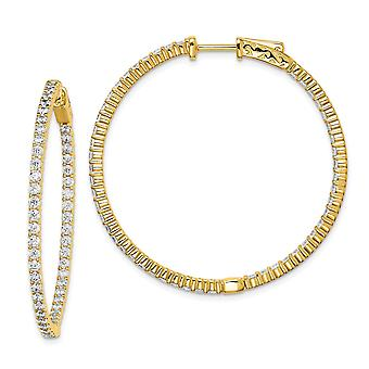 925 Sterling Silver Polished Prong set Hinged hoop Gold-Flashed With Cubic Zirconia Hoop Earrings