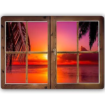 Metal Print, Window Red Sunset