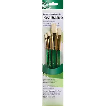 Real Value Brush Set Natural Bristle Bright 2,4, Flat 6,8 P9112
