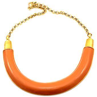 Kenneth Jay Lane Gold & Black Enamel Half Moon & Chain Collar Necklace