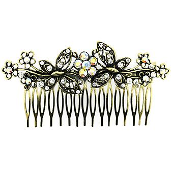 Vintage Inspired Antique Gold and Crystal Double Butterfly Hair Comb
