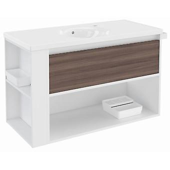Bath+ Drawer + Shelf With Porcelain Basin Fresno-White-White 100cm