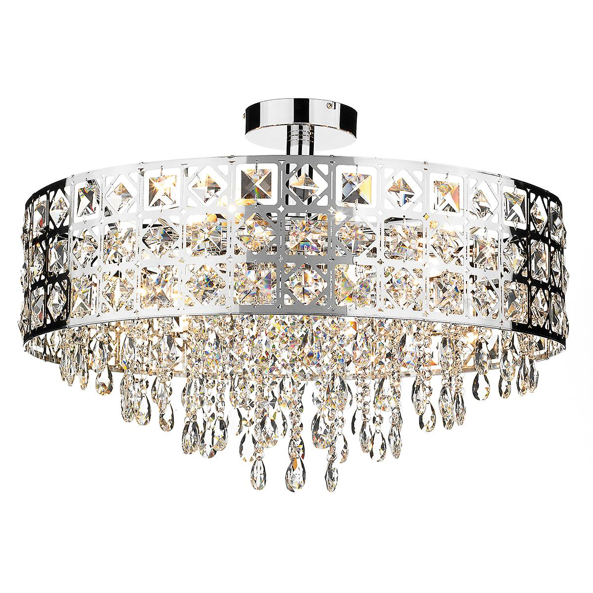 Dar DUC0650 Duchess Modern Chrome 6 Light Round Crystal Ceiling Pendant