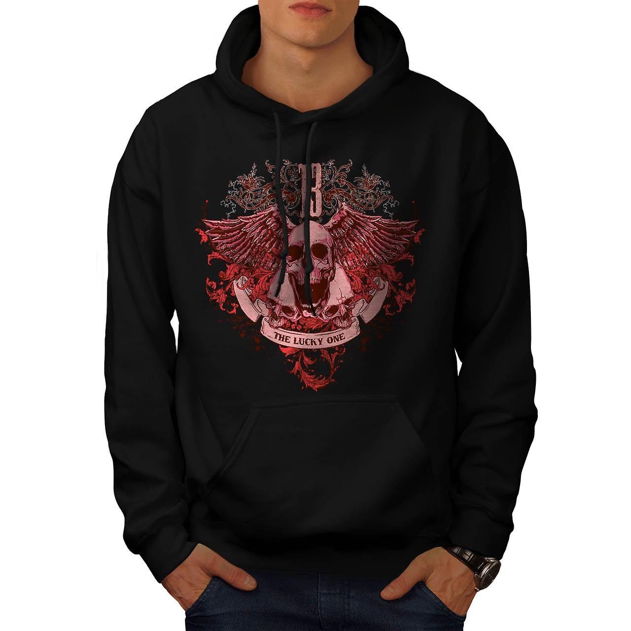Ghost Lucky Skull Charm Head Men Black Hoodie | Wellcoda