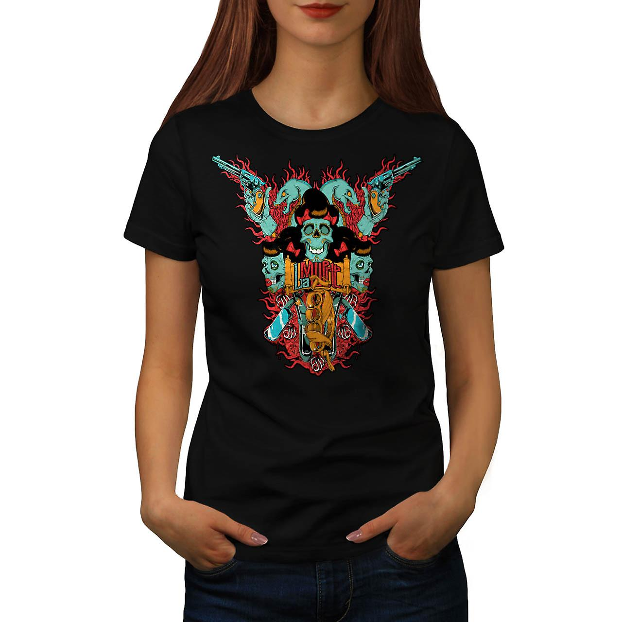 T-shirt nero teschio lama Monster Gang lotta donne | Wellcoda
