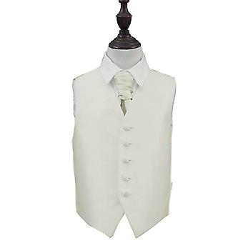 Ivory Solid Check Wedding Waistcoat & Cravat Set for Boys